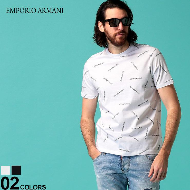 EMPORIO ARMANI エンポリオ アルマーニ 送料無料 新品 メンズ Tシャツ 半袖 卓越 ロゴ プリント プリントT EA3H1TD71J30Z ロゴT 総柄 トップス クルーネック ブランド