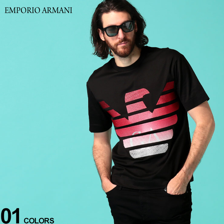 EMPORIO ARMANI エンポリオ アルマーニ 美品 メンズ Tシャツ 半袖 新作入荷!! イーグル 刺繍 クルーネック グラデーション ロゴ EA3H1TN61JCQZ トップス ブランド