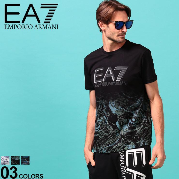 EMPORIO ARMANI EA7 エンポリオ アルマーニ 定価の67%OFF メンズ Tシャツ 本物 半袖 渦巻 ブランド クルーネック ロゴ プリントT うずまき EA3HPT03PJ02Z 柄プリント プリント トップス