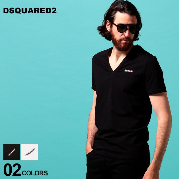 DSQUARED2 ディースクエアード メンズ Tシャツ 半袖 ロゴ プリント 当店は最高な サービスを提供します 使い勝手の良い Vネック ブランド トップス ストレッチ D2D9M453040UD