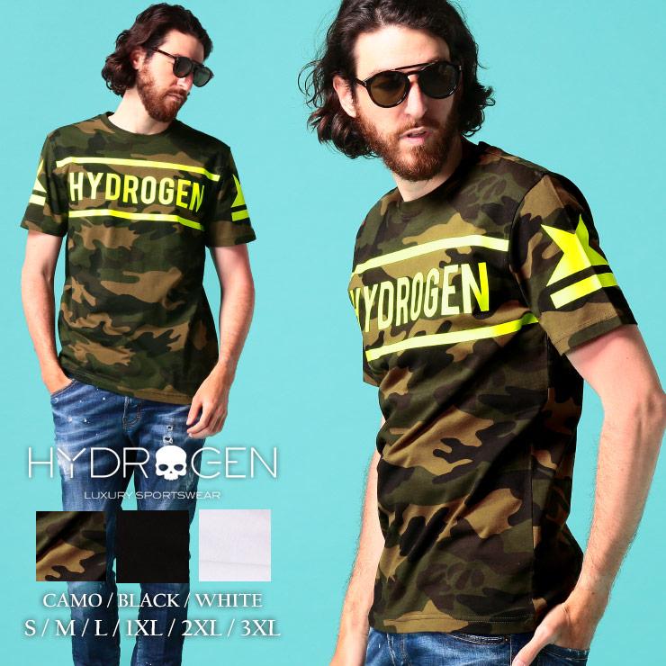 買物 HYDROGEN ハイドロゲン メンズ Tシャツ 半袖 ロゴ スター HY260624 プリント ブランド コットン クルーネック 蛍光イエロー 全商品オープニング価格 トップス