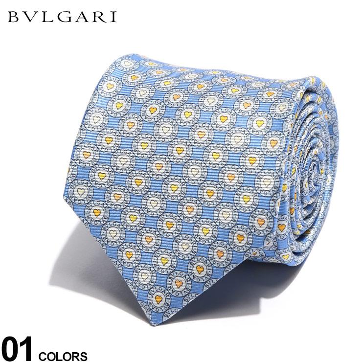 ブルガリ ネクタイ BVLGARI シルク100% ハート ロゴ LOGOMANIA 水色 ロゴマニア ブランド メンズ シルク 絹 タイ BLG244184F0