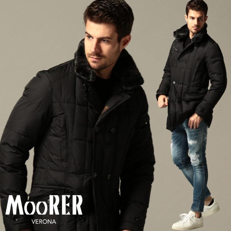 高い素材 ムーレー メンズ ダウンジャケット MOORER モリス ラビットファー ダブル MORRIS-KM2 BLACK ブランド アウター ブルゾン ハーフ丈 MRMORRISKM2 SALE_2_a, 原町市 f702598c