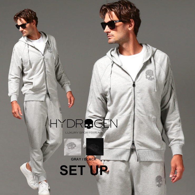 ハイドロゲン メンズ セットアップ HYDROGEN スウェット スタッズ スカル パーカー パンツ STUDS SKULL ブランド スエット 上下セット ジップパーカー スウェットパンツ HY27460642