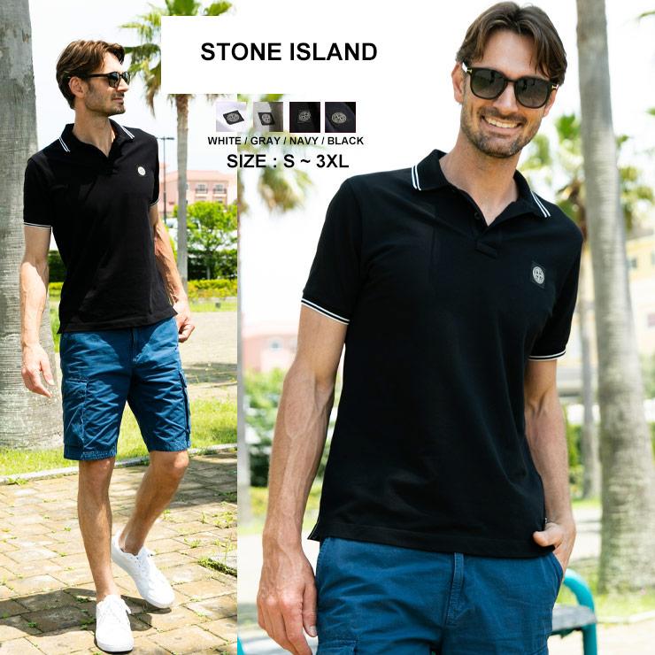 STONE ISLAND ストーンアイランド メンズ ポロシャツ ストーンアイランド メンズ ポロシャツ STONE ISLAND ロゴ ライン 半袖 鹿の子 ブランド トップス コットン SI101522S18