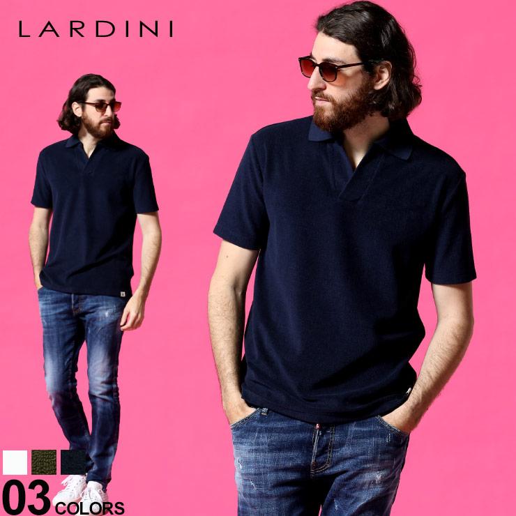 LARDINI ラルディーニ メンズ スキッパーシャツ パイル ラルディーニ メンズ LARDINI パイル地 スキッパー 半袖 ポロシャツ ブランド トップス パイル コットン LDLPMC53EL56057