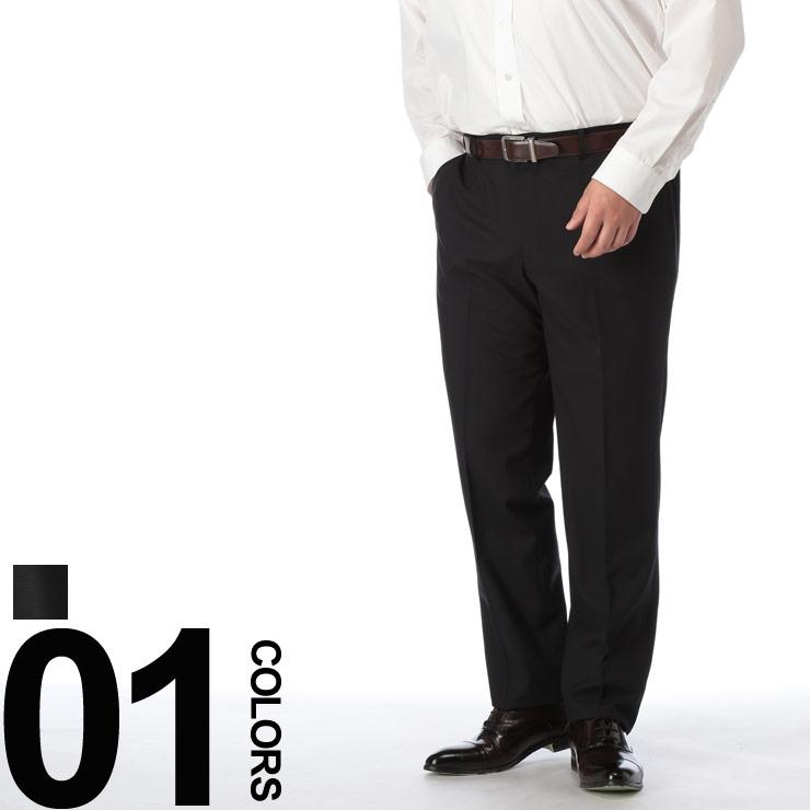 大きいサイズ メンズ HYBRIDBIZ (ハイブリッドビズ) HYBRIDBIZ WALK ノータック シャドーチェック スラックス BLACK ビジネス ボトムス パンツ 洗える ウォッシャブル タックなし 592041719S640