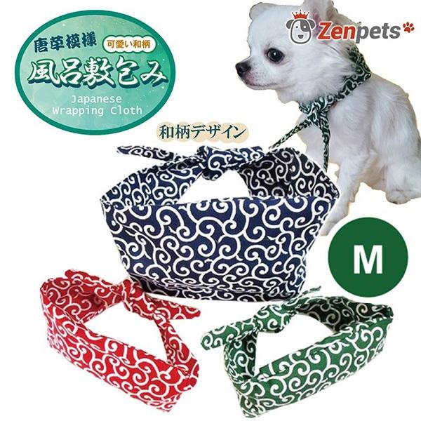 日本製 犬用 アクセサリー バンダナ 通常版 サイズ:M 和柄 おしゃれ かわいい 豊富な品 スカーフ 風呂敷包み 贈与 からくさ 唐草模様
