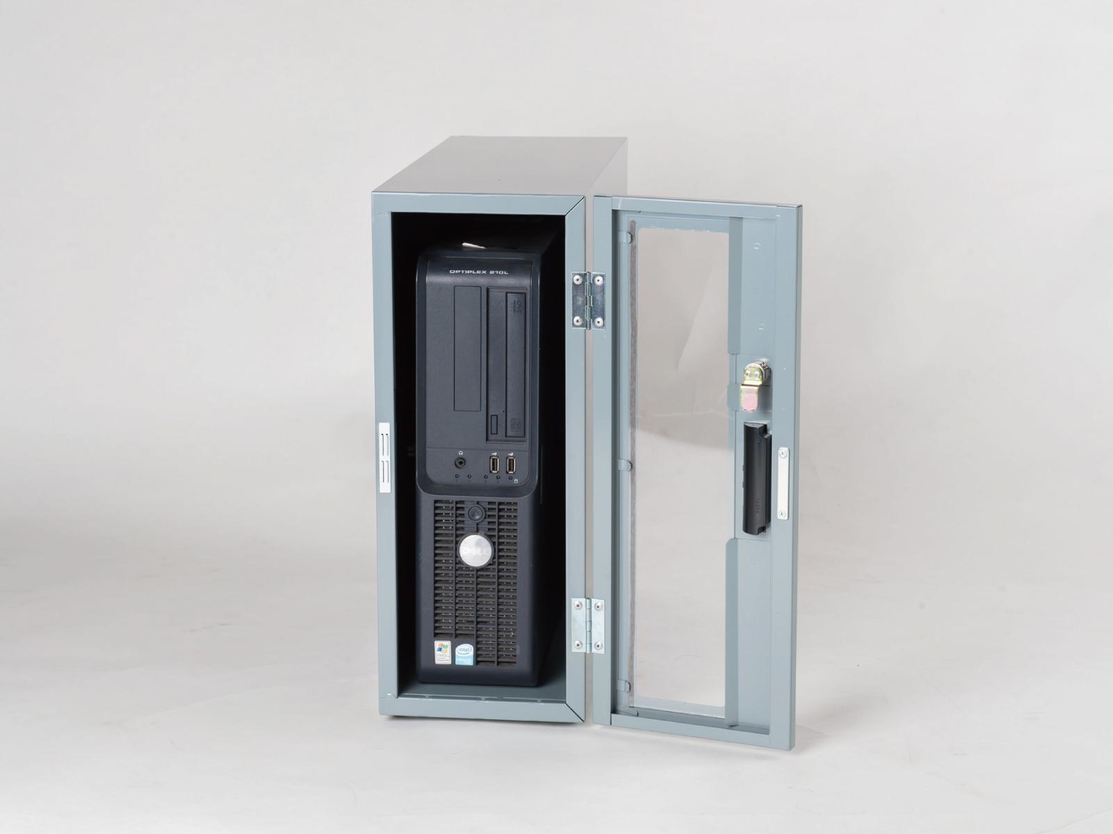 送料無料 防塵ラック PCケース ホコリ 排熱 盗難防止 工場使用可 セイテック Tidy Box CPU 3UG グレー