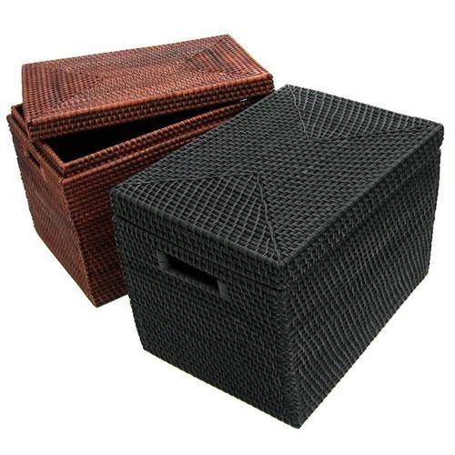 【収納ボックス フタ付き】ラタン収納籠