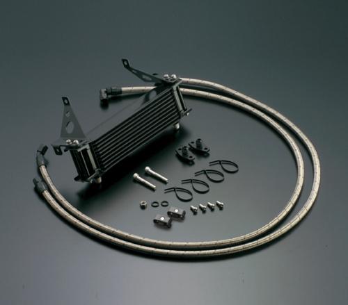 CBR400F オイルクーラーキット(サイド廻し)ストレート #6 9-10R ブラック仕様 (サーモ対応キット) ACTIVE(アクティブ)