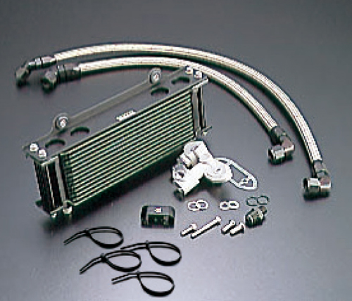 GSX1100S(KATANA)81~93年 オイルクーラーキット(サイド廻し)ストレート #6 9-10R ブラック仕様 (サーモ対応キット) ACTIVE(アクティブ)