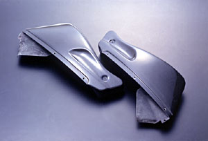 CBR1100XX(97~98年) ハーフサイドカウルセット 左右セット FRP/黒 A-TECH(エーテック)