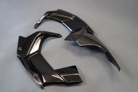 Ninja H2(15年~) アッパーカウルインナー 左右セット 開繊ドライカーボン ツヤ有 クリア塗装済 A-TECH(エーテック)