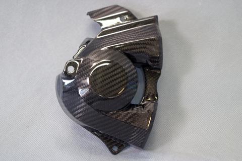 Ninja H2(15年~) フロントスプロケットカバー 綾織ドライカーボン ツヤ有 クリア塗装済 A-TECH(エーテック)