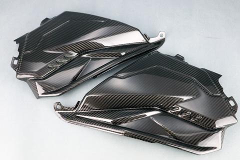 KATANA(刀)19年 平織ドライカーボン SPL タンクサイドカバー クリア塗装済 A-TECH(エーテック)