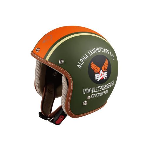 ALVH-1421 ジェットヘルメット COBRA 2 カーキ/オレンジ/アイボリー フリーサイズ(57~59cm) Alpha industries(アルファインダストリー)