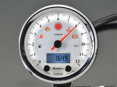 送料無料 CA085シリーズ多機能クラシカルメーター 15000rPm 『4年保証』 商品 ACEWELL ホワイトパネル エースウェル