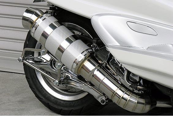 マジェスティ250(MAJESTY)5GM・5SJ HEタイプマフラー レーシングタイプ ホワイトカーボン ASAKURA(浅倉商事)