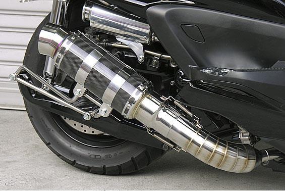 グランドマジェスティ400(O2センサー無) HEタイプマフラー レーシングタイプ ブラックカーボン ASAKURA(浅倉商事)