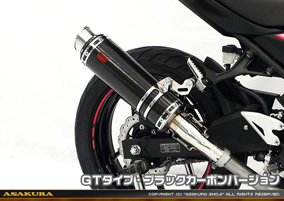 Ninja250(ニンジャ250)2BK-EX250P TTRタイプマフラー スリップオン GTタイプ ブラックカーボンバージョン ASAKURA(浅倉商事)