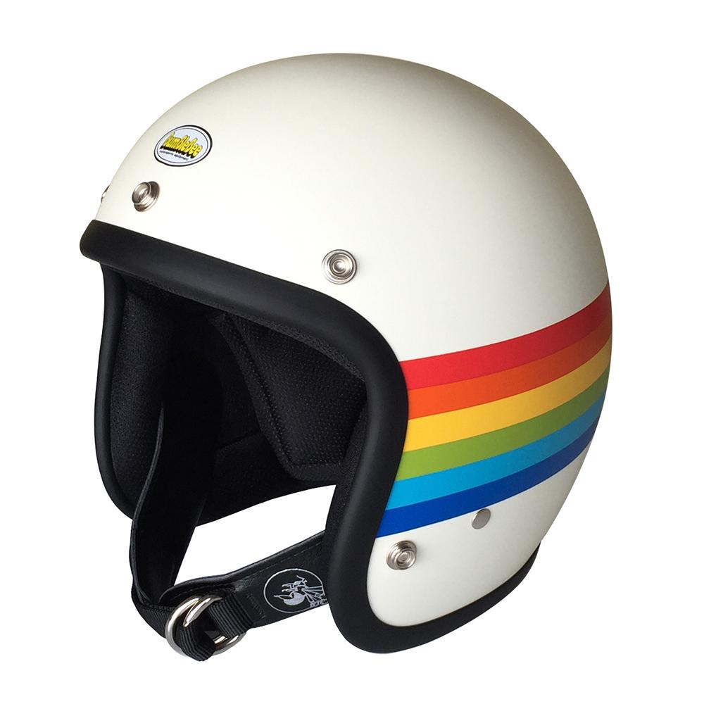 BBHM-02N レインボー マットアイボリー MLサイズ ジェットヘルメット BumBleBee(バンブルビー)