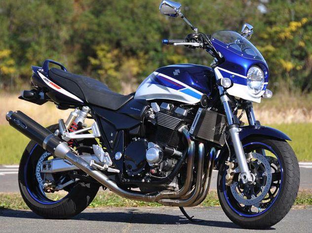 GSX1400(01年) ロードコメット スモークスクリーン パールスズキディープブルー/パールスティルホワイト(青白3トーン)L99 通常スクリーン シックデザイン