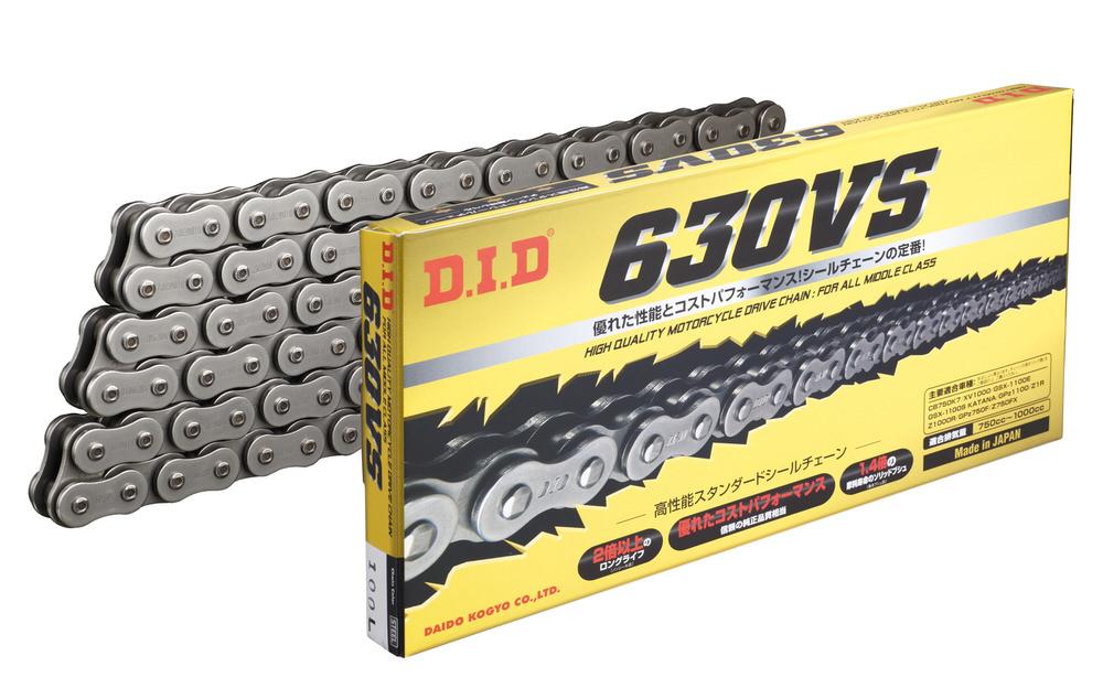 Vシリーズ 630VS-100L FJ (クリップ) スチール色 O-リングチェーン DID(ダイドー)