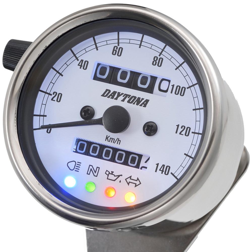 機械式スピードメーター φ60 ホワイトLED照明 140km/h ステンレスボディ ホワイトパネル インジケーター付き DAYTONA(デイトナ)