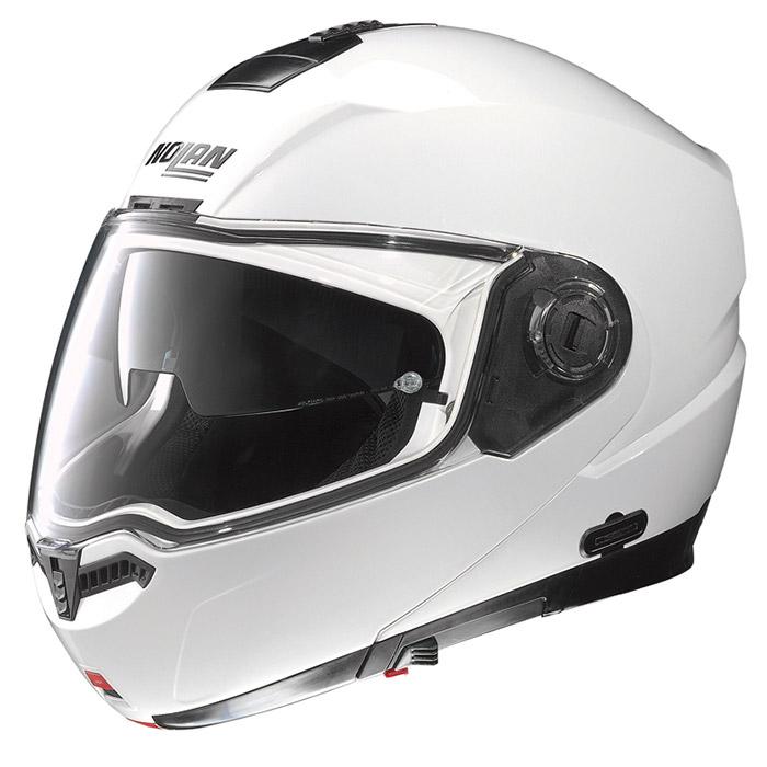 N104 ソリッド メタルホワイト Mサイズ フリップアップヘルメット NOLAN(ノーラン)