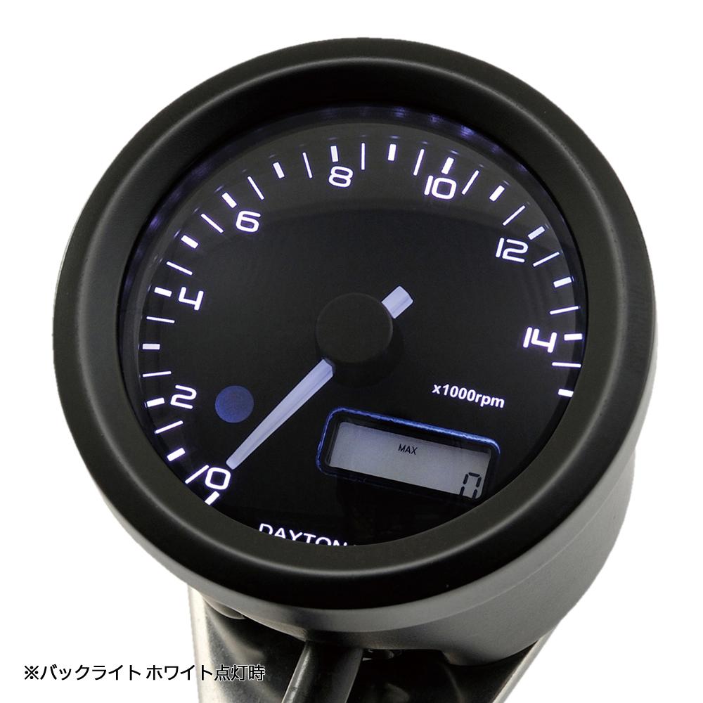 VELONA 電気式タコメーター Φ48(パルスジェネレーター無し)15000rpm ブラック/3色LED DAYTONA(デイトナ)