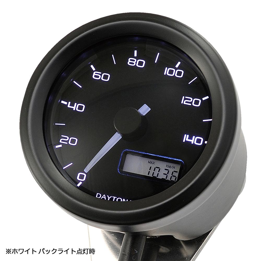 VELONA 電気式スピードメーター Φ48(非接触センサー無し) 140km/h ブラック/3色LED DAYTONA(デイトナ)