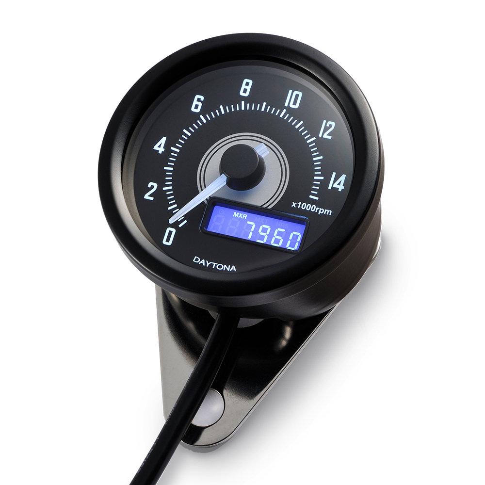 VELONA 電気式タコメーター φ60 15000rpm ブラックボディ ホワイトLED DAYTONA(デイトナ)