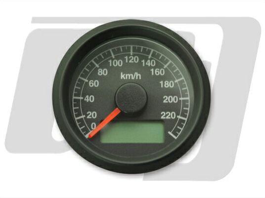 ビッグツイン(95年~)、スポーツスター 電気式アジャスタブルスピードメーター 黒盤 黒ボディ GUTS CHROME(ガッツクローム)