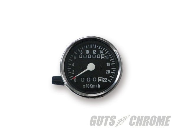 4100-7021 60mm機械式スピードメーター トリップ付 黒 2:1 GUTS CHROME(ガッツクローム)