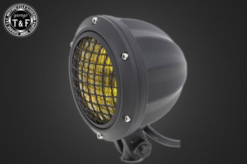 送料無料 250TR オーバーのアイテム取扱☆ 4インチビレットヘッドライト ブラック +各種ステーSET F ガレージT 高級な ステーE