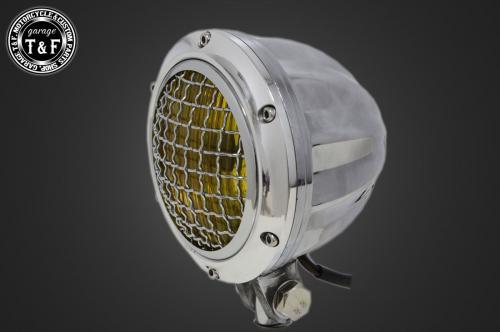 送料無料 250TR 4インチビレットヘッドライト ポリッシュ 海外 ガレージT +各種ステーSET ステーE 高級な F