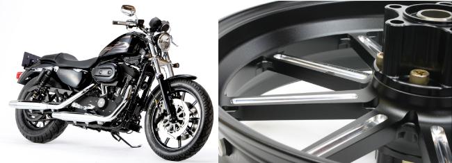 XL1200CX スポーツスター ロードスター(ABS)17年 アルミ鍛造ホイール(9S) リア用 450-18 ブラックメタリック GLIDE(グライド)