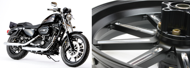 XL1200CX スポーツスター ロードスター(ABS)17年 アルミ鍛造ホイール(9S Gコート) リア用 450-18 ブラックメタリック GLIDE(グライド)
