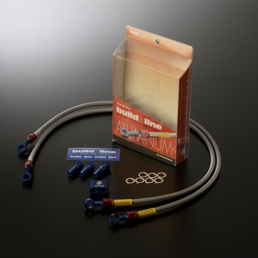 Ninja400R(ニンジャ400R)11~12年 ビルドアライン ボルトオンブレーキホースキット フロント用 S-TYPE ブルー/レッド クリアホース GOODRIDGE(グッドリッジ)
