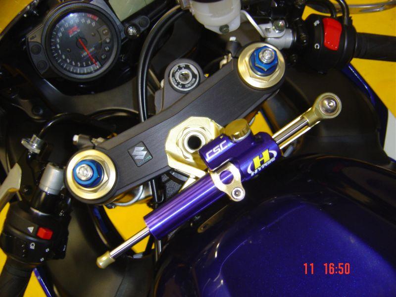 GSX-R750(04~05年) CNCステアリングダンパーステー 75mm/タイプ3 ゴールド ハイパープロ(HYPER PRO)
