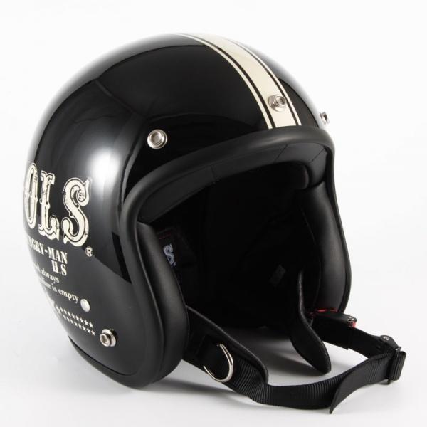 HM-01 COOLS HUNGRY MAN ブラックベース グロス仕上げ ジェットヘルメット 72JAM(ジャムテックジャパン)