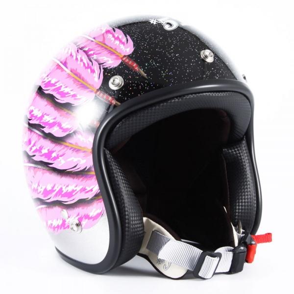 IWL-04 IWAKI Fifty one Feather Designレディース ピンクフェザー ブラック/シルバーグラデーションベース グロス仕上げ ジェットヘルメット 72JAM(ジャムテックジャパン)