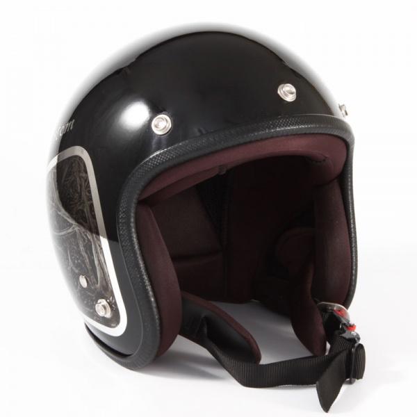 JCP-40 WEED ブラックベース/ブラックラップ グロス仕上げ ジェットヘルメット 72JAM(ジャムテックジャパン)
