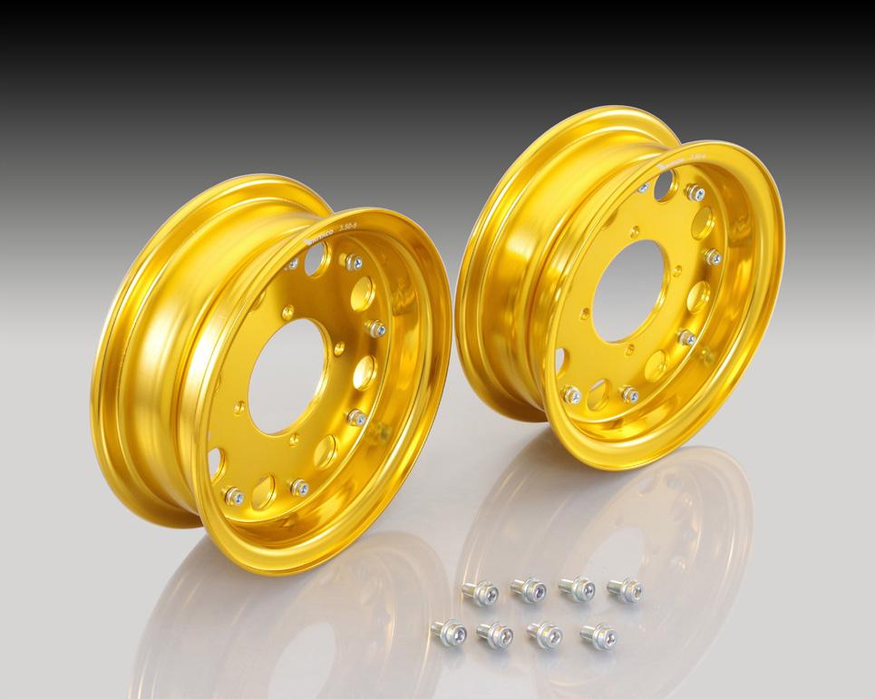 モンキー(MONKEY)/ゴリラ 8インチアルミホイールセット(STD)8×2.5(2本セット) ゴールド KITACO(キタコ)