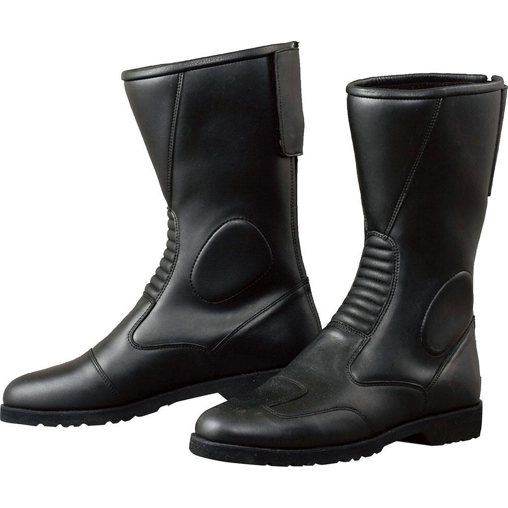 K202 バックジッパーワイドブーツ ブラック サイズ25cm コミネ(KOMINE)