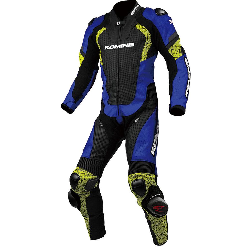 【送料無料】  S-52 レーシングレザースーツ ブルー/ネオン Lサイズ コミネ(KOMINE)