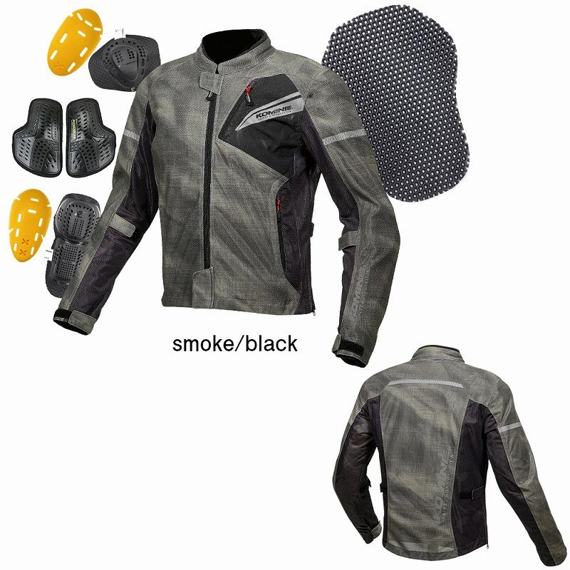 JK-140 プロテクトフルメッシュジャケット スモーク/ブラック 2XLサイズ コミネ(KOMINE)