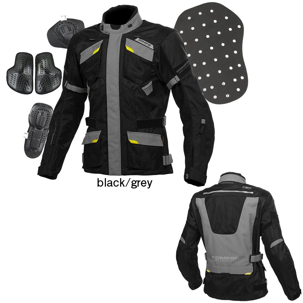 JK-142 プロテクトアドベンチャーメッシュジャケット ブラック/グレー Lサイズ コミネ(KOMINE)