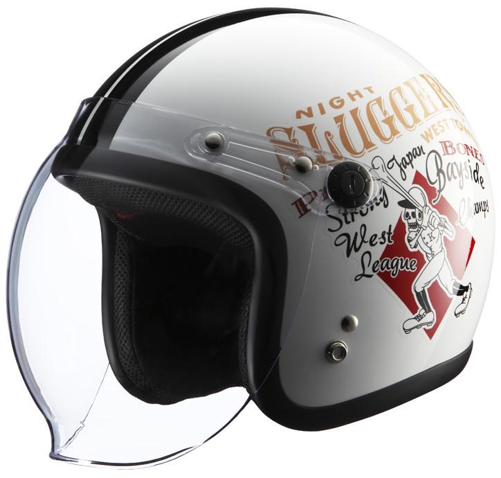 シールド付きヘルメット RJ605 PLAY BONES2 ホワイト/ブラック フリーサイズ(57-60cm) KNUCKLE HEAD(ナックルヘッド)